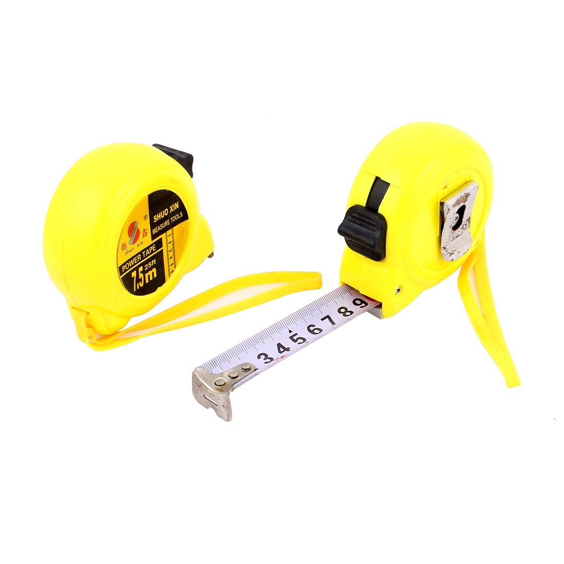 7.5M Yellow Plastic Shell Retractable Lock Button Ruler Metric Measure Tape w Strap 2pcs