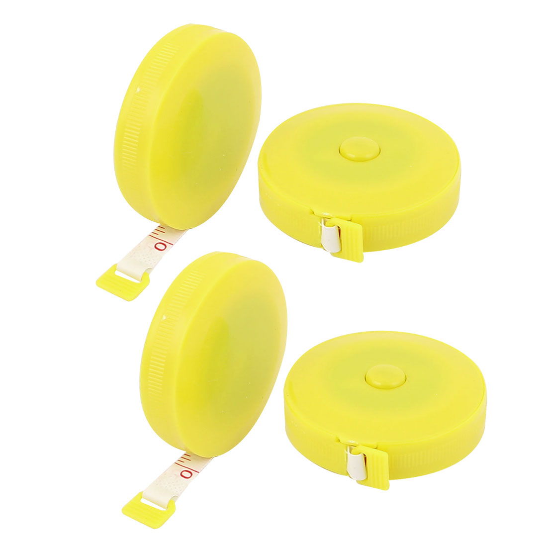 """60"""" 1.5M Sewing Tailor Round Housing Retractable Double Sided Tape Ruler Measuring Tool Yellow 4pcs"""