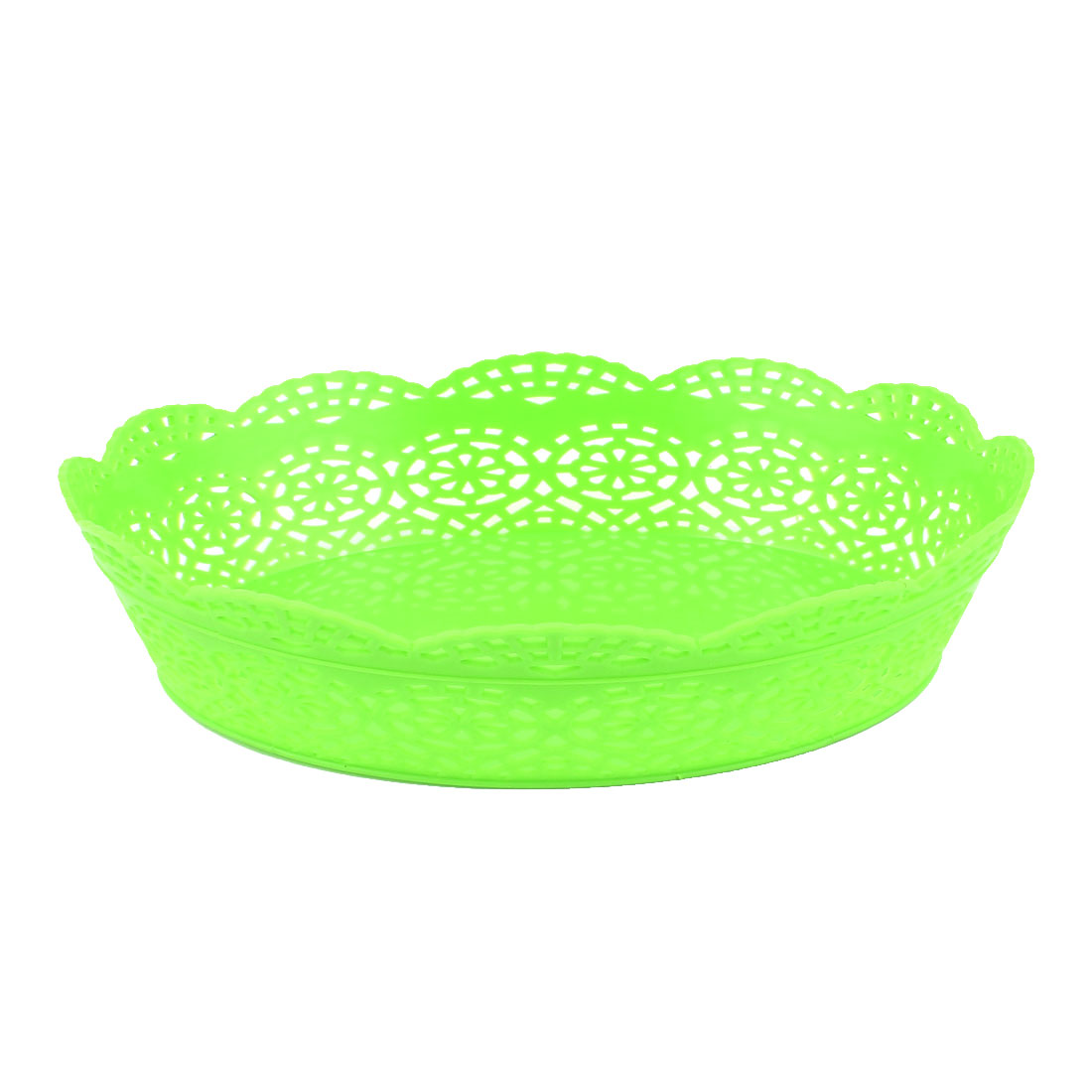 Green Plastic Hollow Out Design Fruit Vegetable Storage Holder Basket Container Organizer