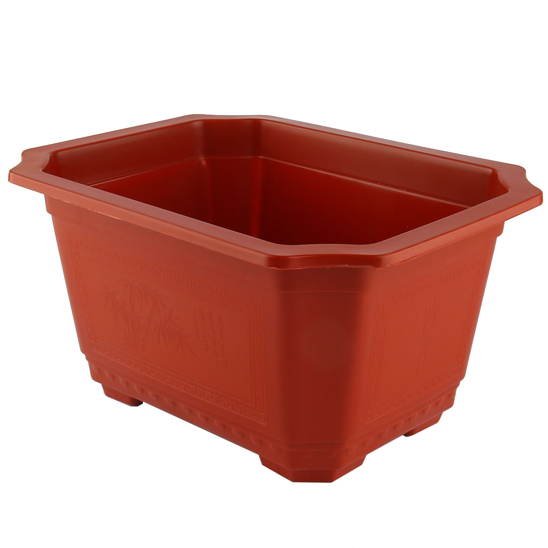 Plastic Rectangle Shaped Office Home Garden Window Decor Plant Flower Pot Red