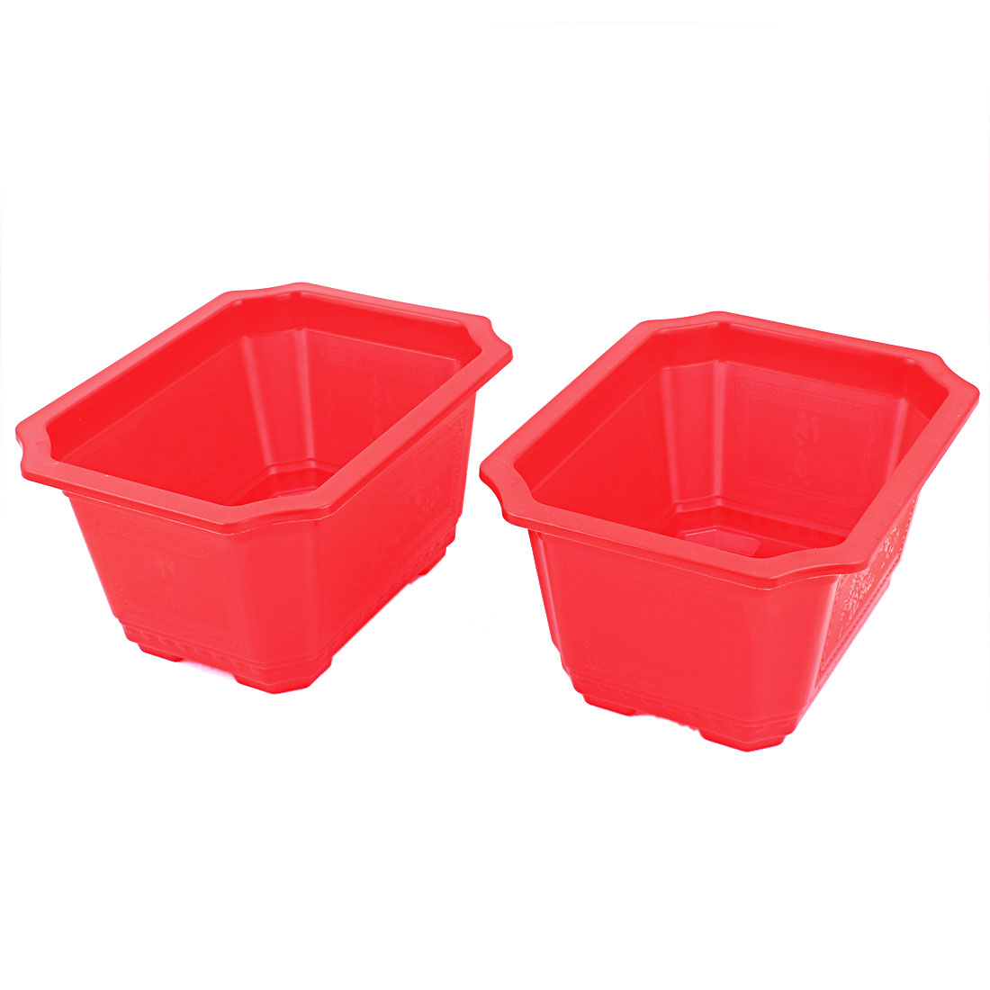Plastic Rectangle Shaped Home Garden Window Decor Plant Flower Pot Red 2pcs