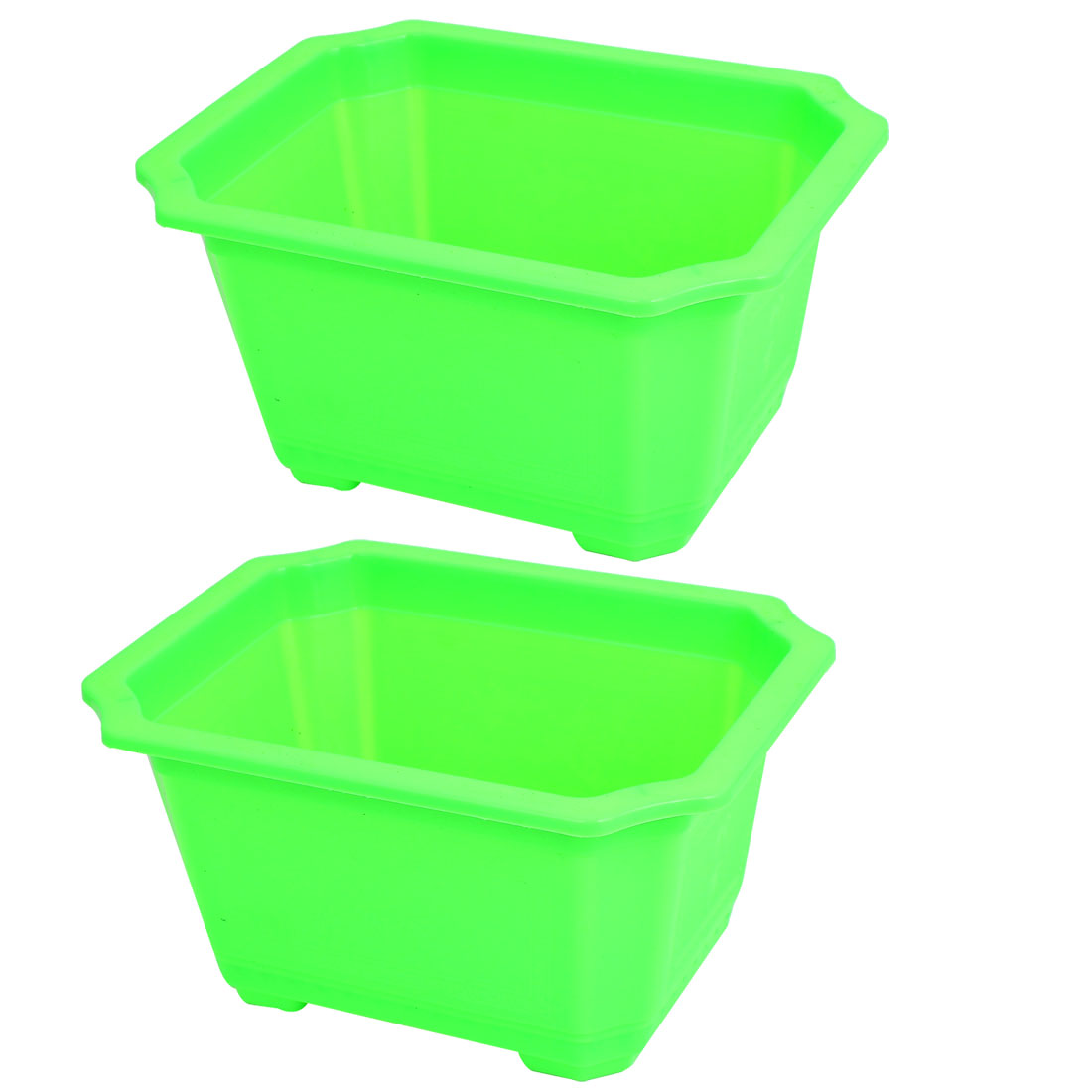 Plastic Rectangle Shaped Home Garden Window Decor Plant Flower Pot Green 2pcs