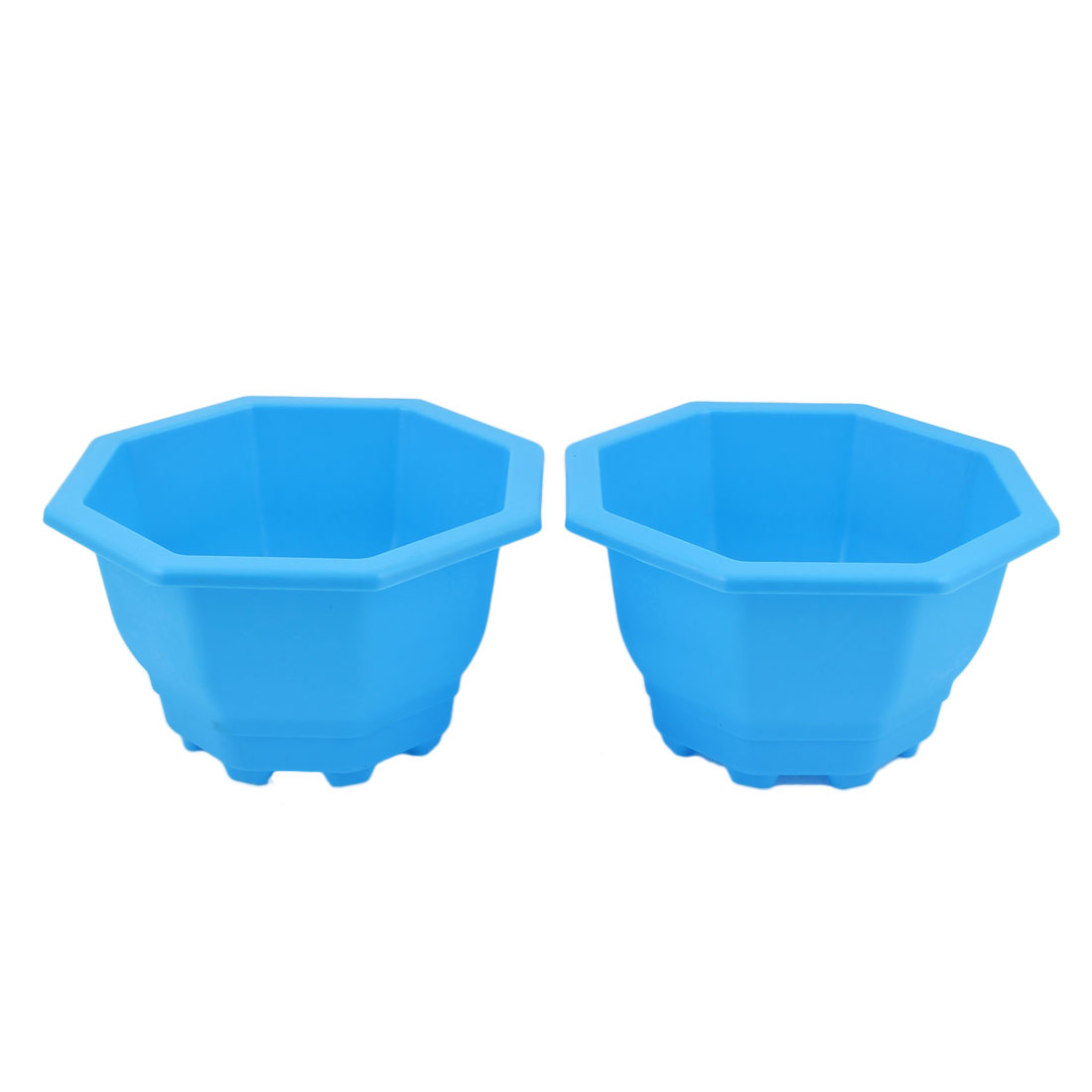 Plastic Octagon Shaped Home Garden Window Decor Plant Flower Pot Blue 2pcs