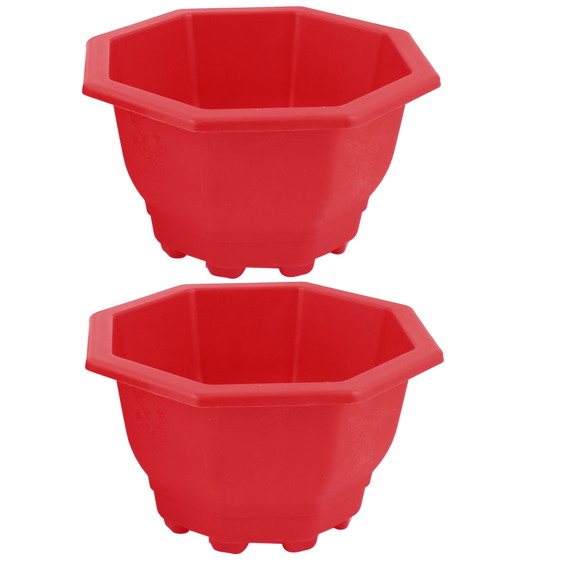 2pcs Blue Red Plastic Octagon Shape Garden Planter Plant Flower Pot Barrels Flowerpot