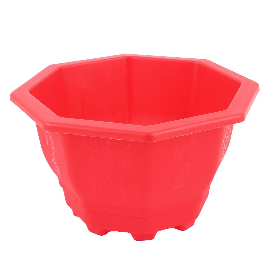 Red Plastic Octagon Design Garden Planter Plant Flower Pot Barrel Flowerpot