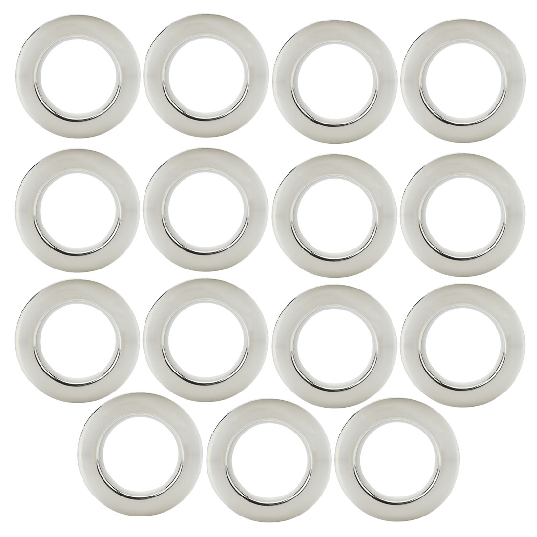 Bathroom Shower Plastic Curtain Ring Hook Sliding Hangers Silver Tone 15Pcs