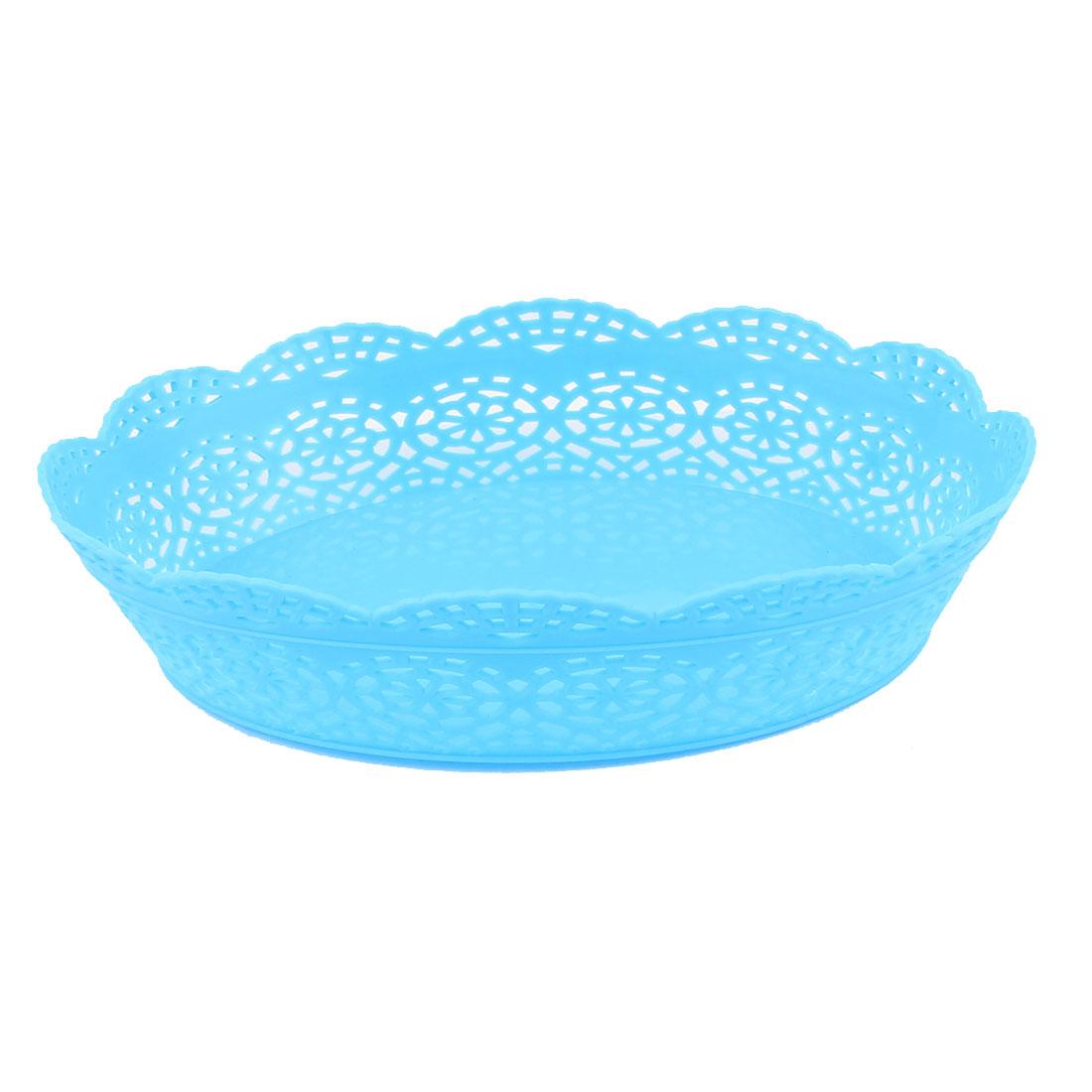 Blue Plastic Oval Shaped Flower Edge Decor Fruit Vegetable Storage Holder Basket Organizer