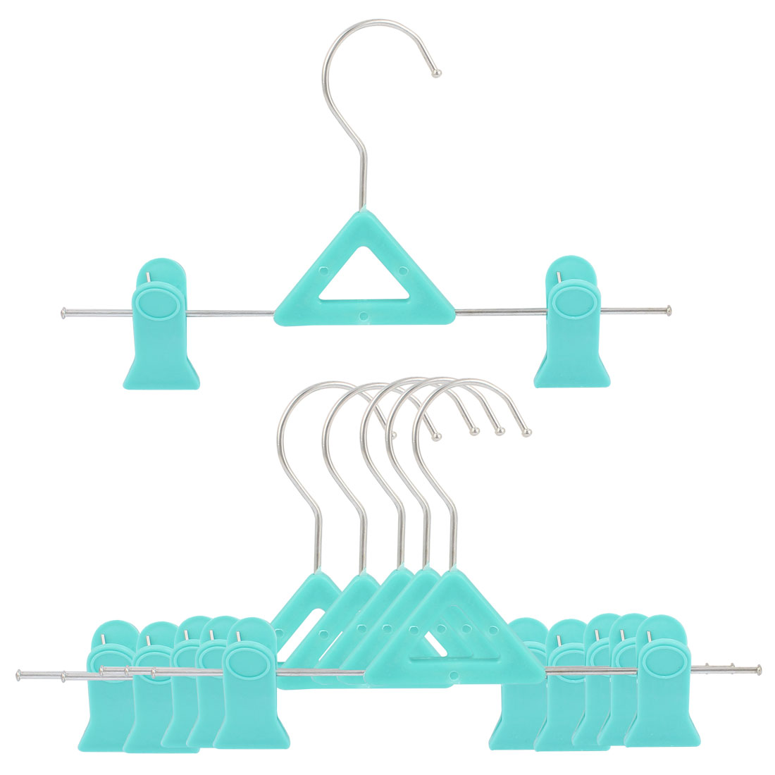 Household Plastic Double Clips Clothes Pants Drying Hanger Hook Cyan 6 Pcs
