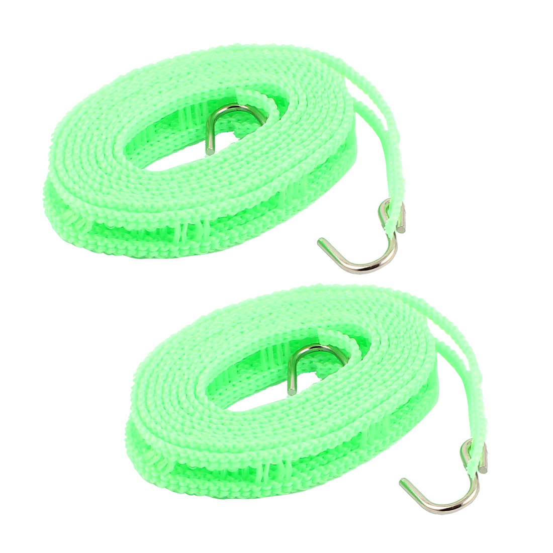 Camping Outdoor Laundry Plastic Clothesline Clothes Hanger Line Rope w Metal Hooks 2M Green 2pcs