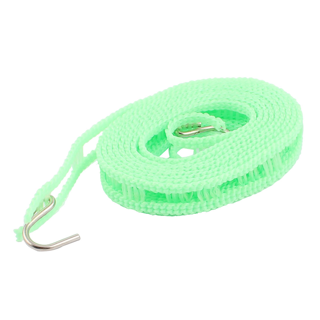 Camping Outdoor Laundry Plastic Clothesline Clothes Hanging String Rope w 2 Hooks 2M Long Green