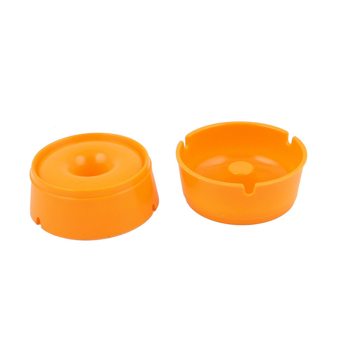 Plastic Portable Home Cigarette Ashtray Container Holder Case Orange 2PCS