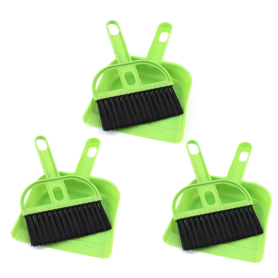 Car Portable Dashboard Console Vent Air Outlet Cleaning Brush Broom Dustpan Green 3 Sets