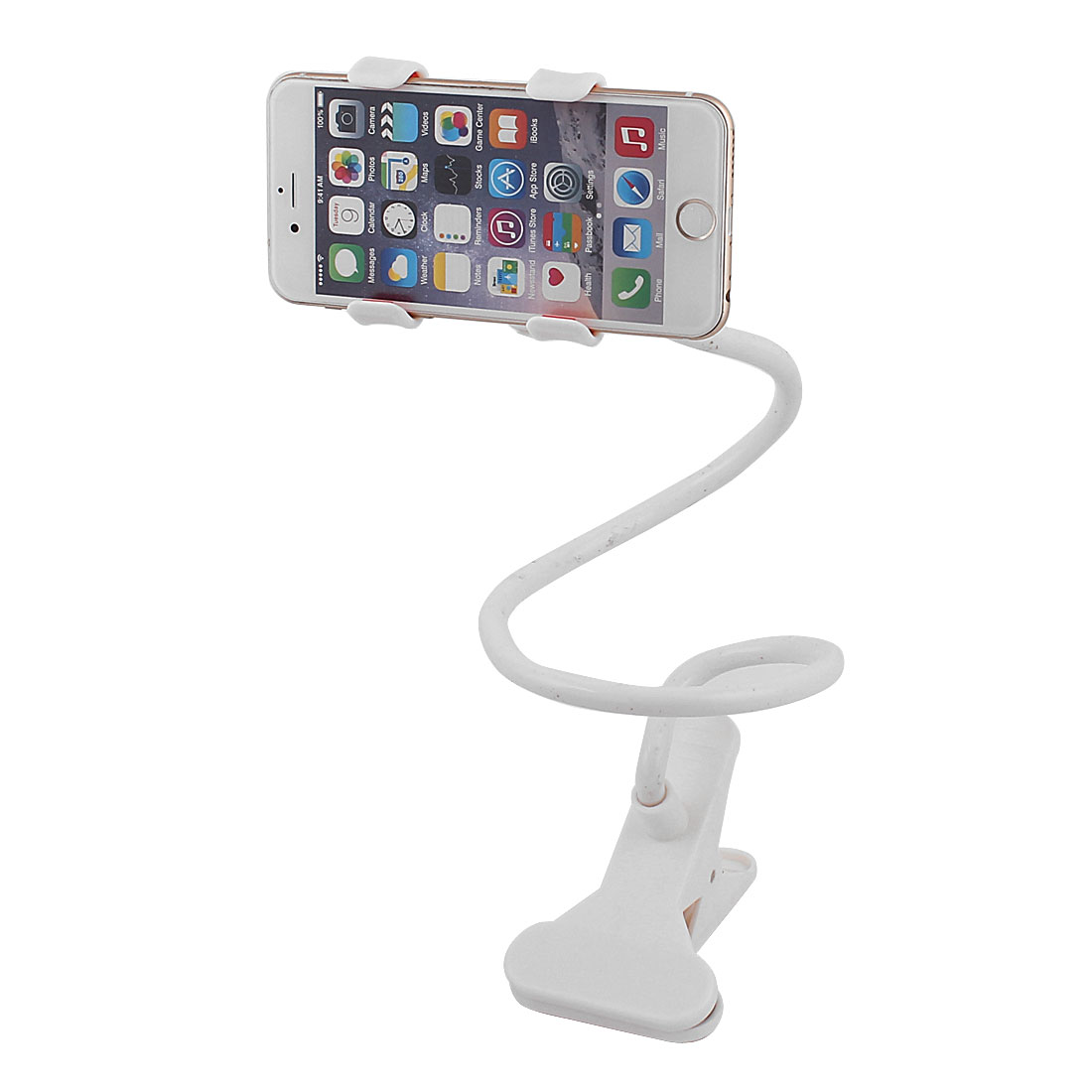 White Flexible 360 Degree Rotatable Dual Clip Mobile Phone Mount Cradle Holder for Auto Car