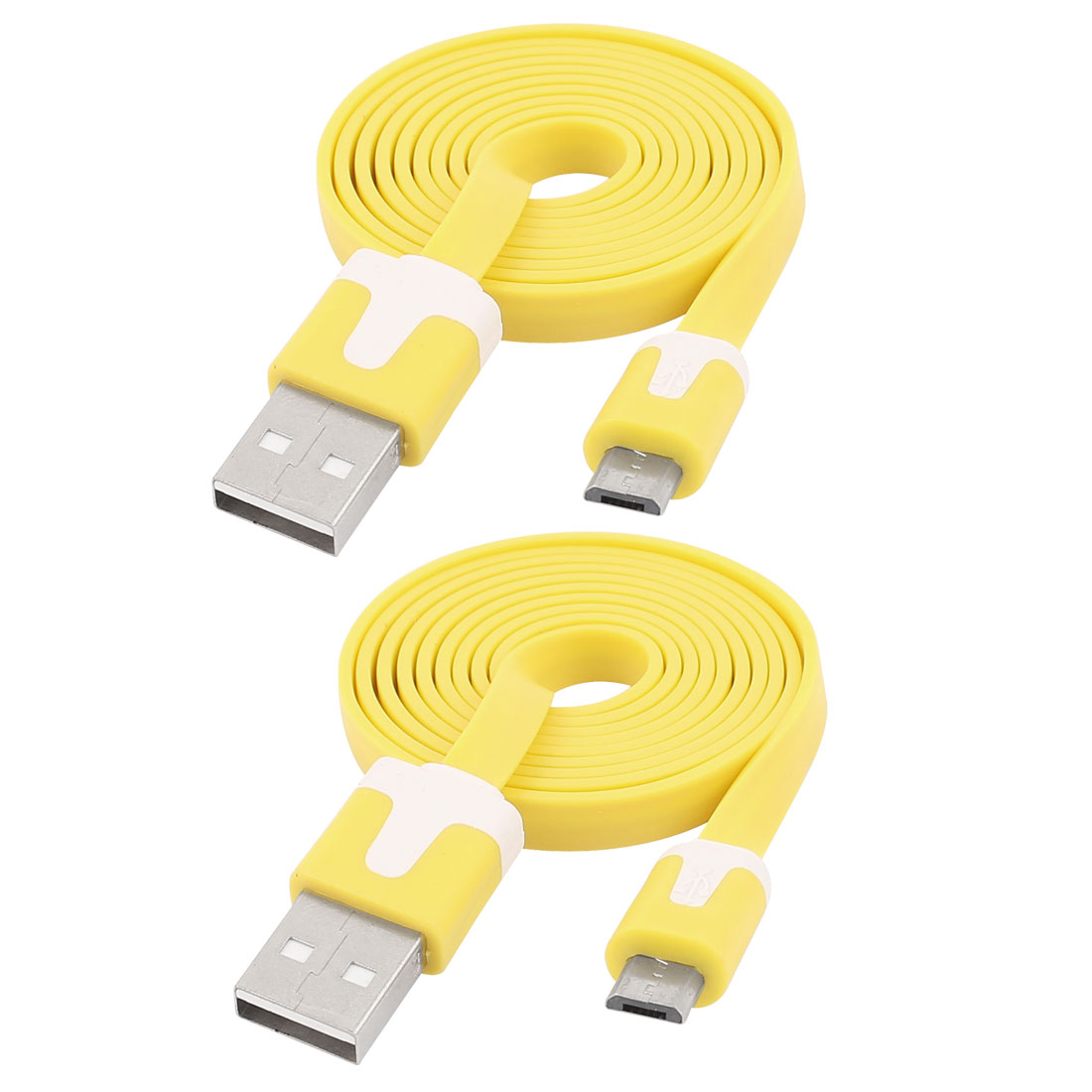 1M USB 2.0 Type A Male to Micro 5 Pin USB Male M/M PC Data Changer Cable Cord Yellow 2pcs