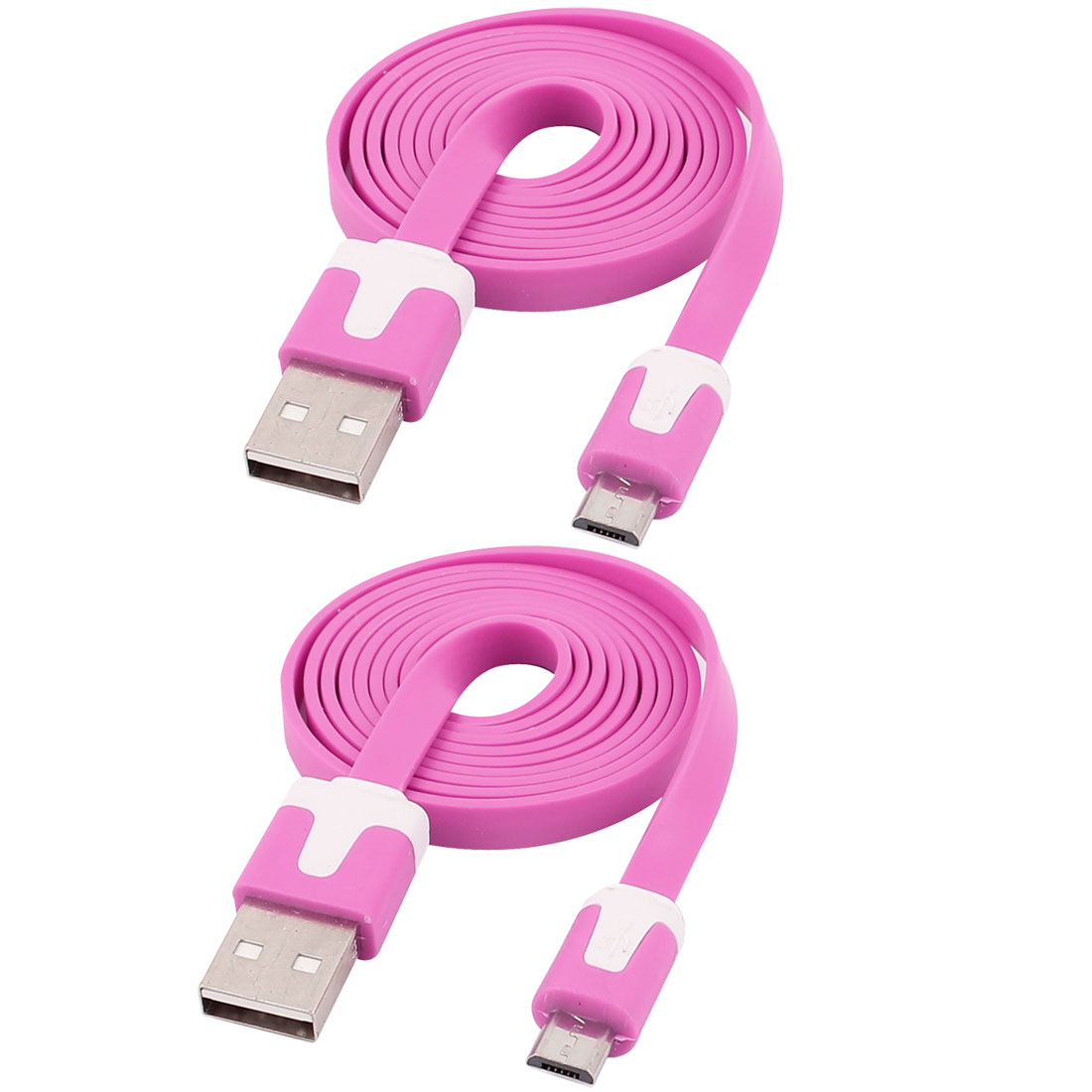 1M Long USB A to Micro 5 Pin Male M/M Noodles Design Data Charger Cable Line Fuchsia 2pcs
