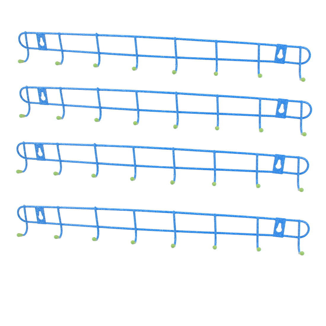 Metal 8 Hooks Bedroom Bathroom Kitchenware Hat Coat Towel Wall Hanger Rack Holder 4PCS