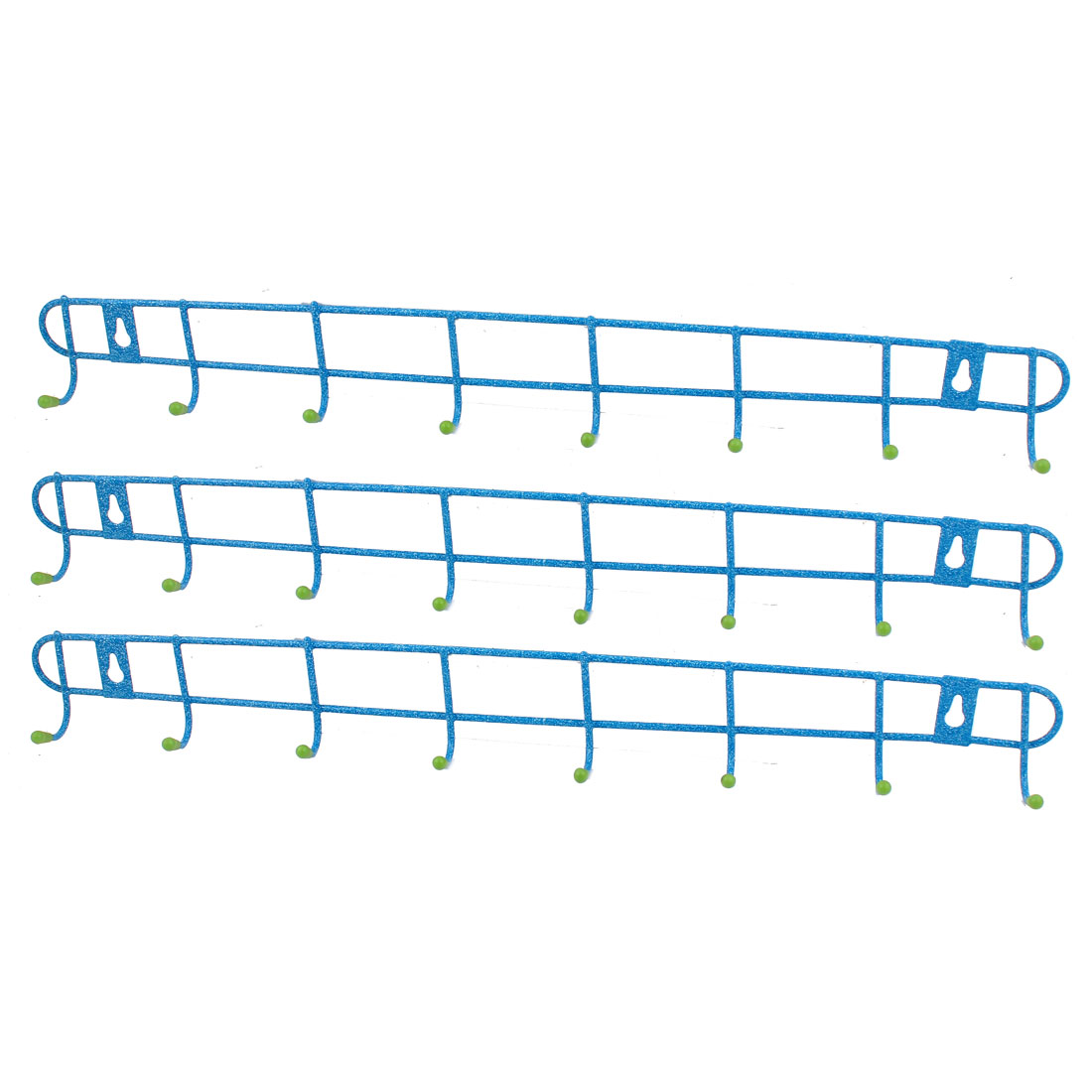 Metal 8 Hooks Bedroom Bathroom Kitchen Hat Coat Towel Wall Hanger Rack Holder 3PCS
