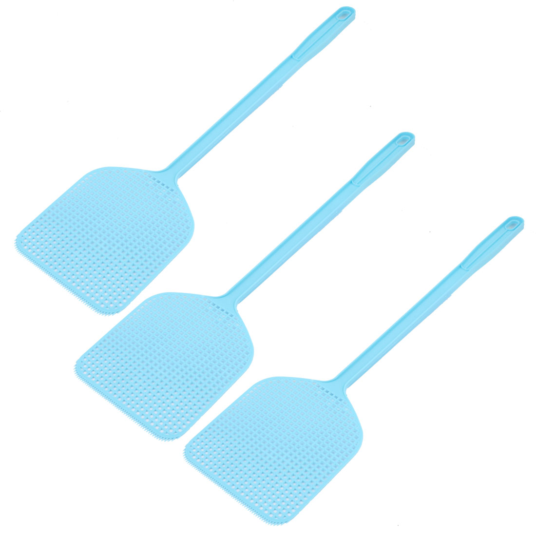 Plastic Novelty Hand Held Mosquito Fly Bug Pest Swatter 44cm Long Blue 3PCS