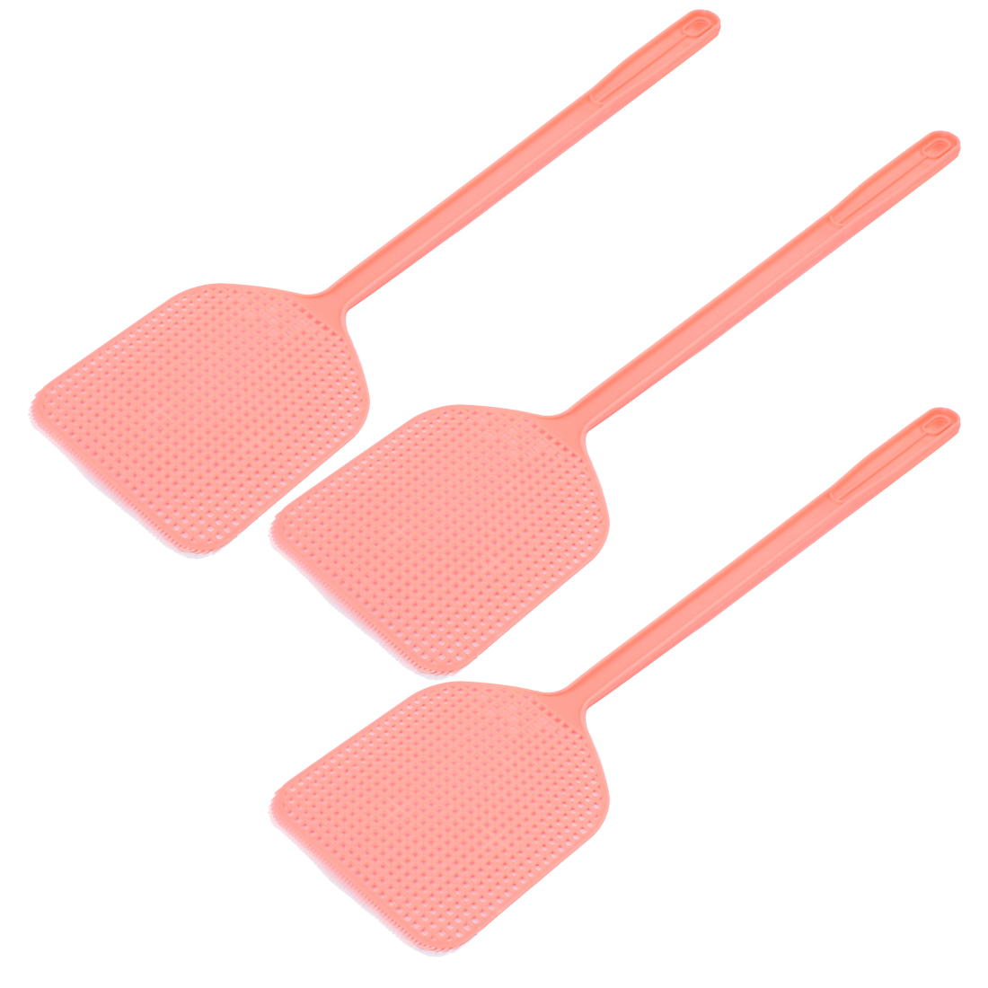 Plastic Novelty Hand Held Mosquito Fly Bug Pest Swatter 44cm Long Pink 3PCS
