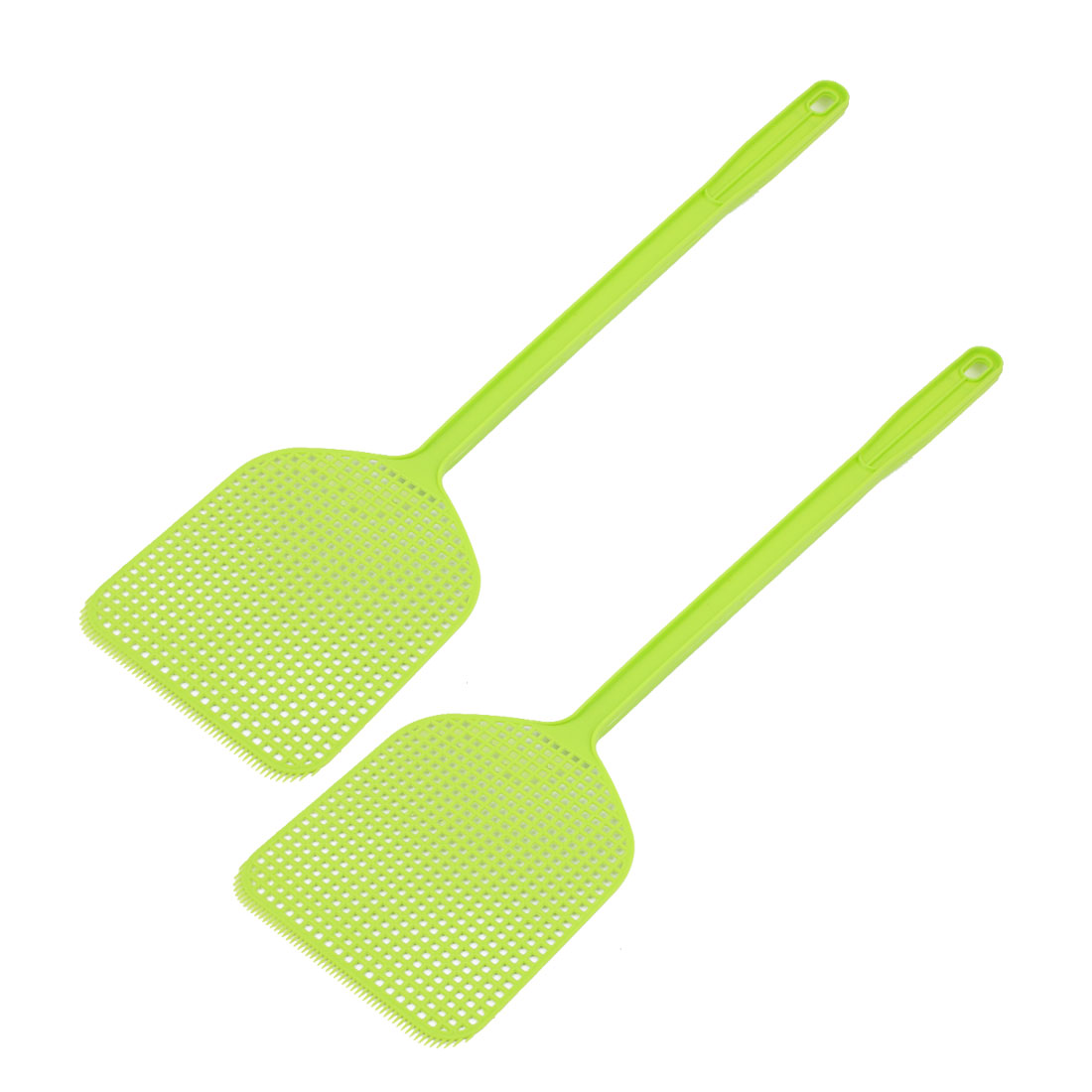 Plastic Hand Held Mosquito Fly Bug Pest Swatter 44cm Length Green 2pcs