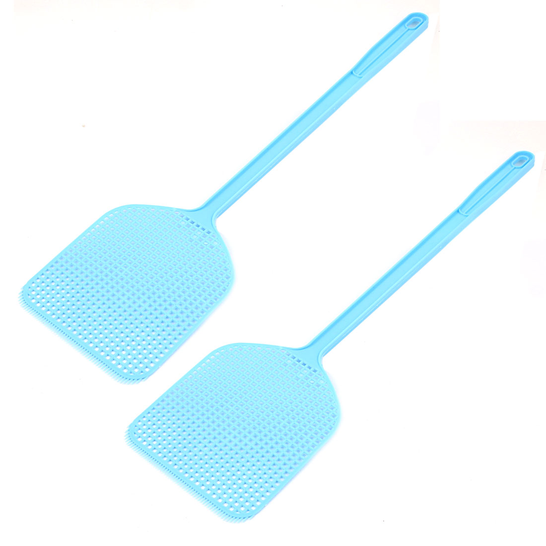 Plastic Hand Held Mosquito Fly Bug Pest Swatter 44cm Long Blue 2 PCS