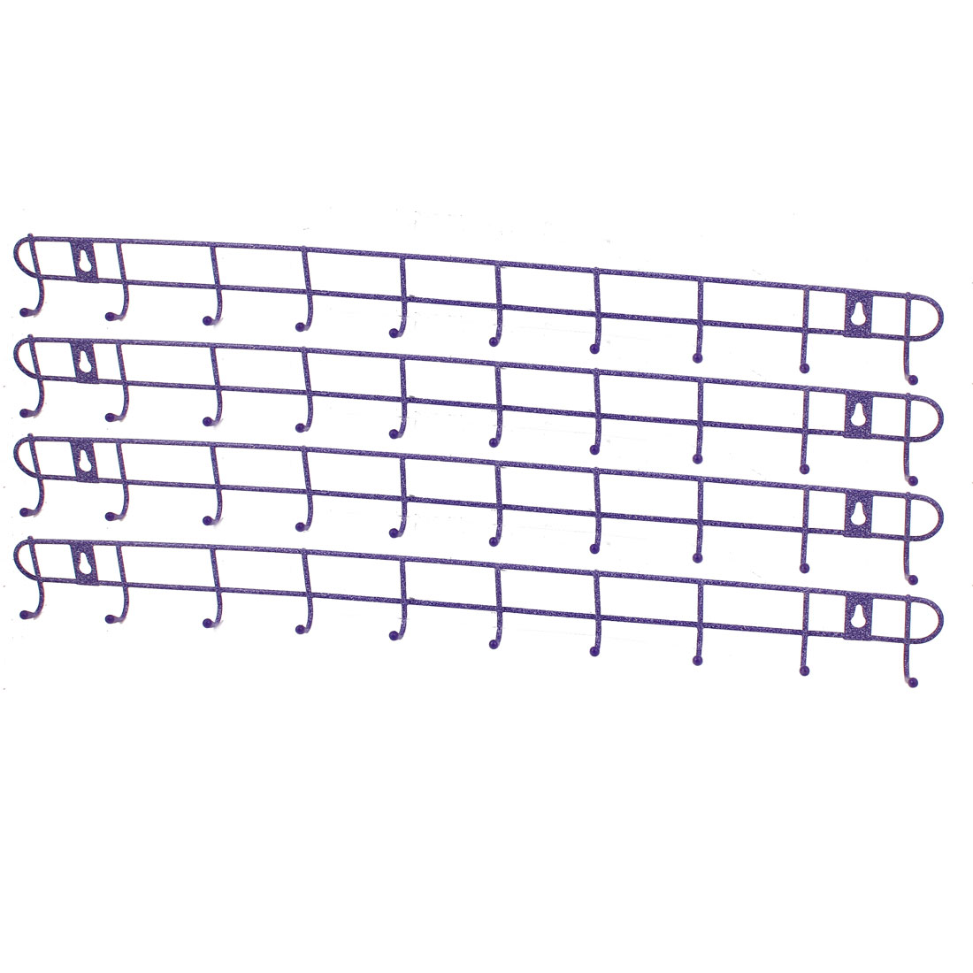 Metal 10 Hooks Home Kitchenware Hat Coat Towels Wall Hanger Rack Holder Purple 4PCS