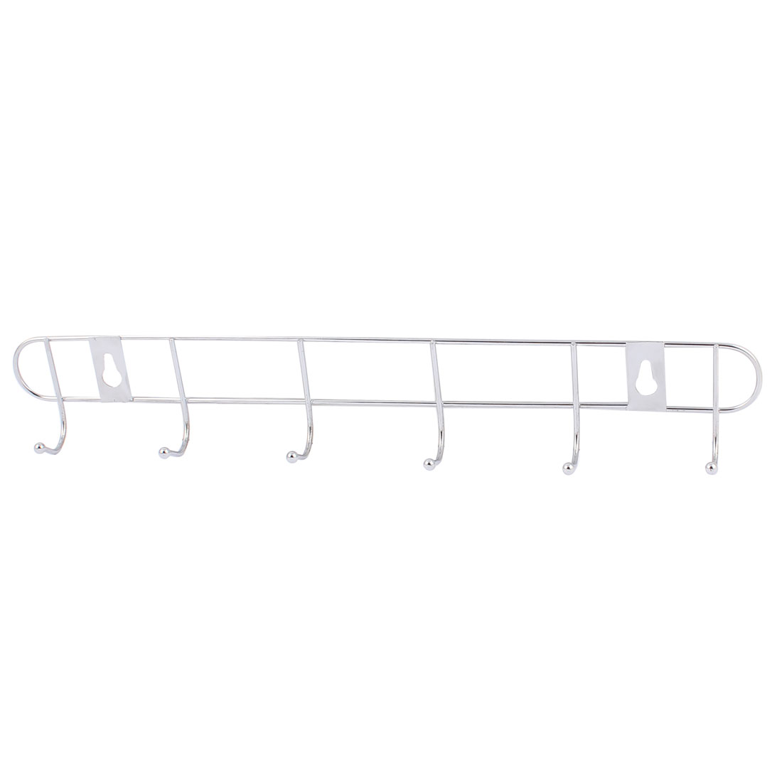 Metal 6 Hooks Ball End Family Kitchen Bathroom Towels Clothes Wall Rack Hook Hanger