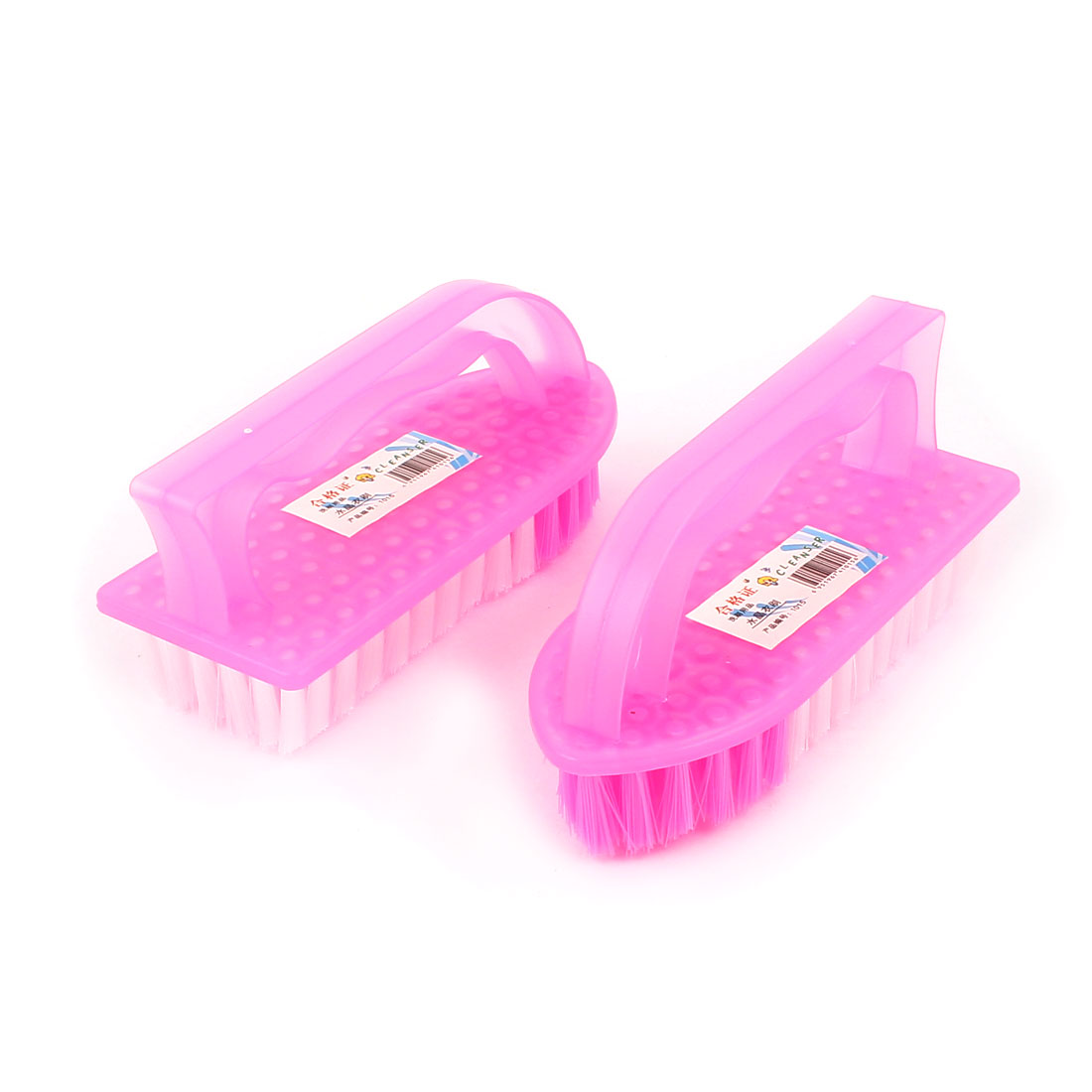 Pink Plastic Shell Clothes Shoes Floor Cleaning Washing Scrubbing Scrub Brush 2PCS