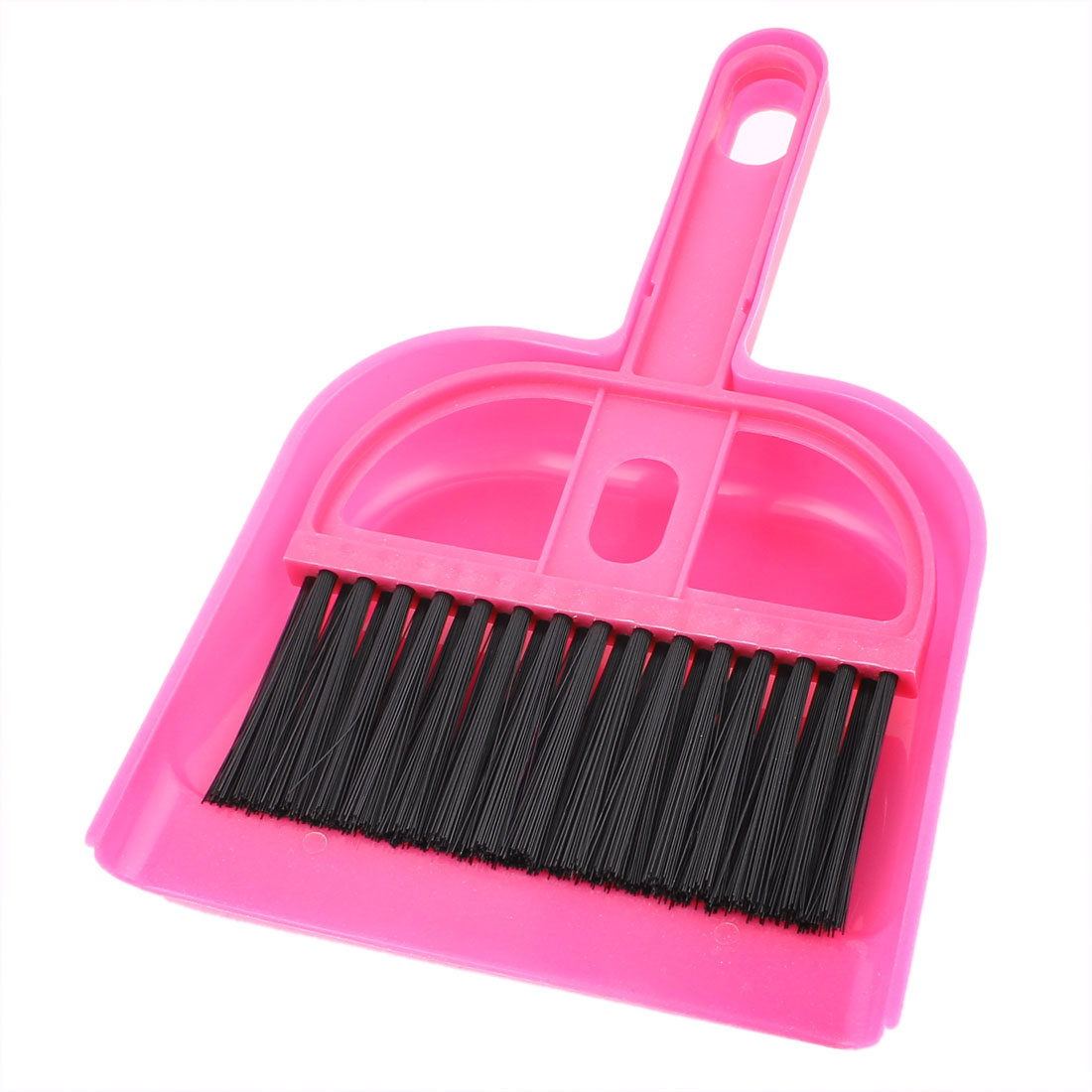 Car Window Keyboard Air Outlet Vent Cleaning Sweeping Brush Dustpan Set Fuchsia