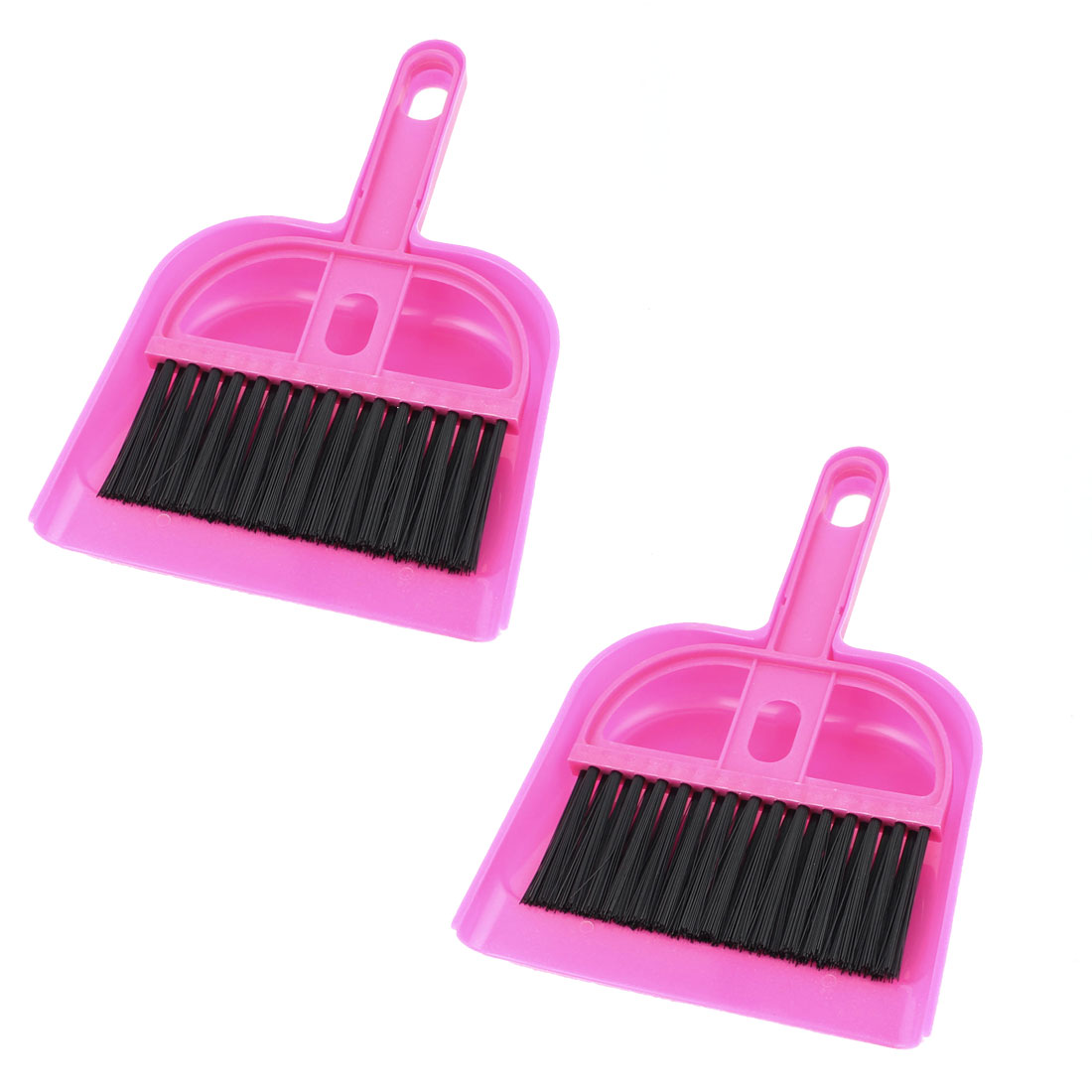 Car Internal Keyboard Air Outlet Vent Cleaning Brush Dustpan Fuchsia 2 Sets