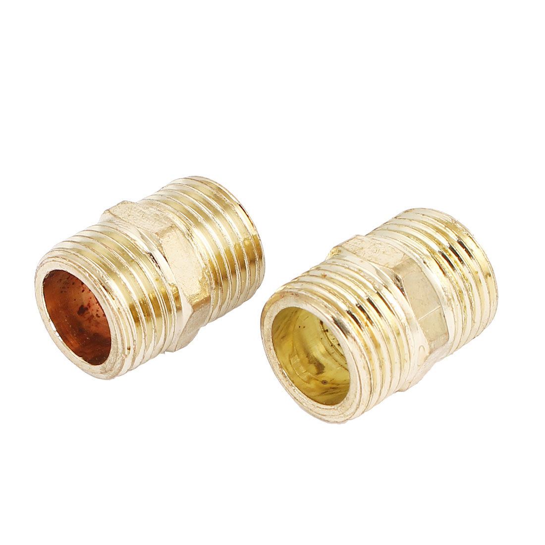 1/2BSP to 1/2BSP Male Thread Air Water Pipe Fitting Hex Nipple Gold Tone 2Pcs