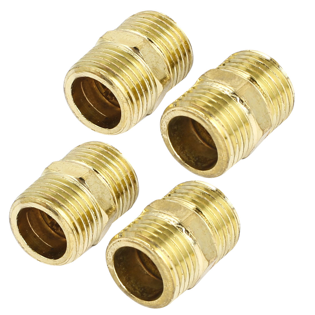 1/2BSP to 1/2BSP Male Thread Air Water Pipe Fitting Hex Nipple Gold Tone 4Pcs