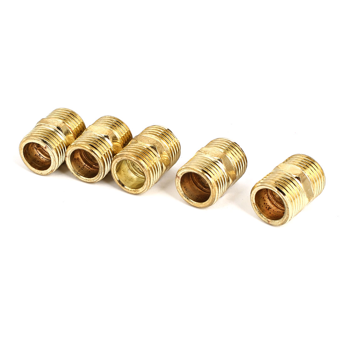 1/2BSP to 1/2BSP Male Thread Air Water Pipe Fitting Hex Nipple Gold Tone 5Pcs