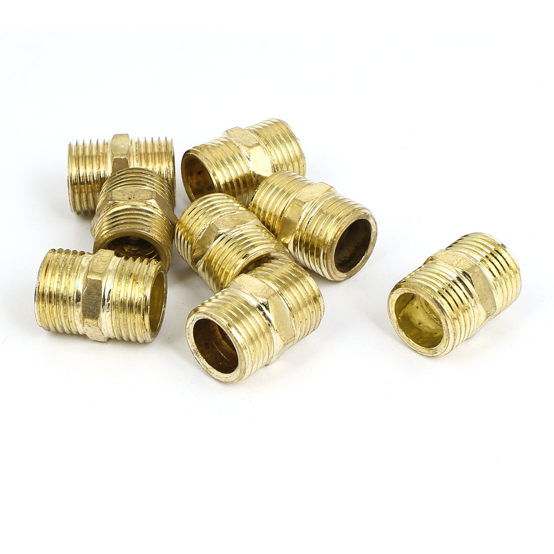 1/2BSP to 1/2BSP Male Thread Air Water Pipe Fitting Hex Nipple Gold Tone 8Pcs