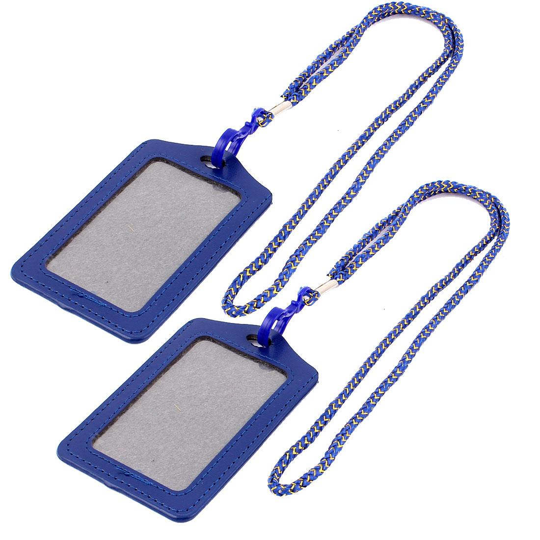 Nylon Neck Strap Name Badge Office Credit ID Card Vertical Holder Dark Blue 2PCS