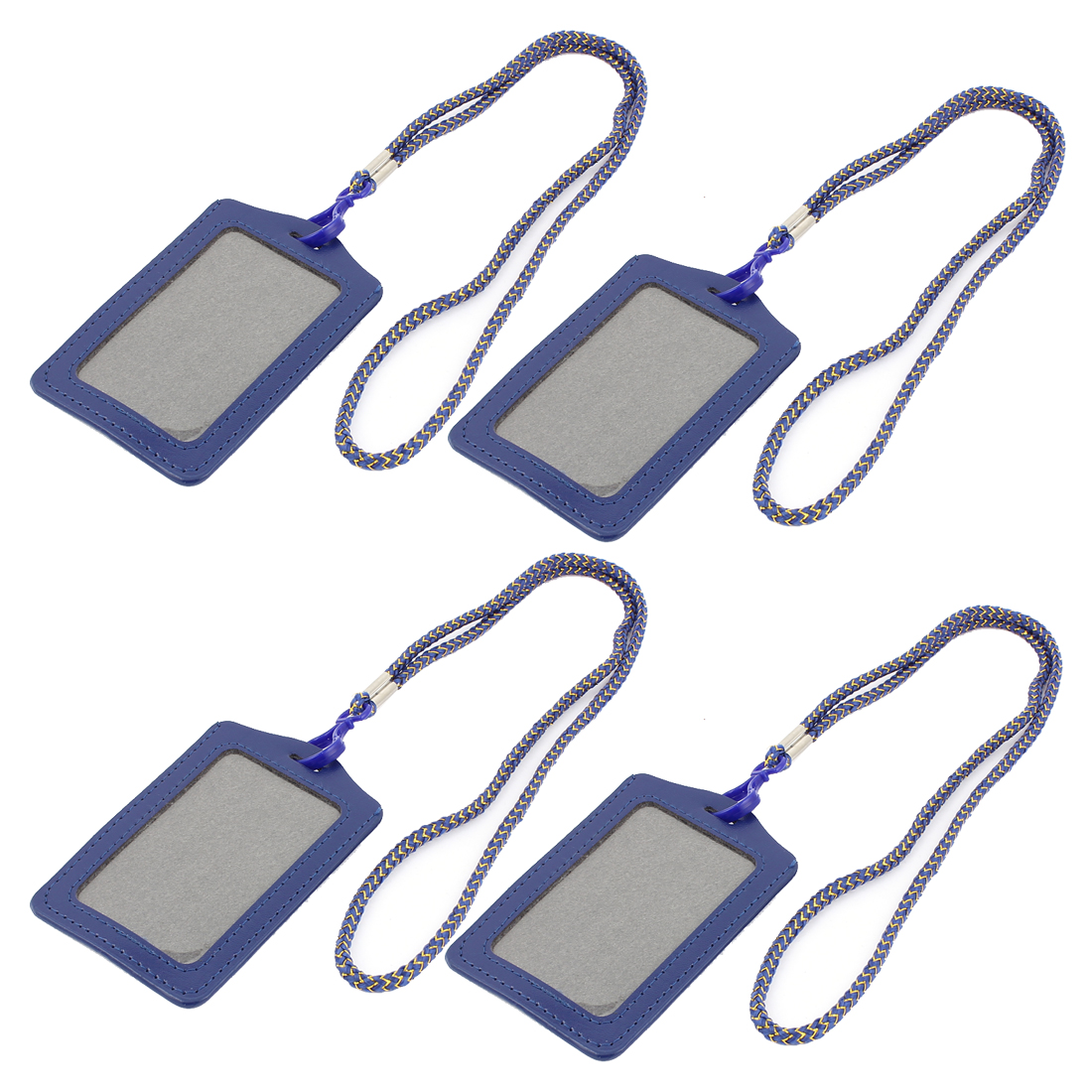 Company Office Nylon Neck Strap Vertical Exhibition Name Card ID Badge Holder Carrier Dark Blue 4pcs