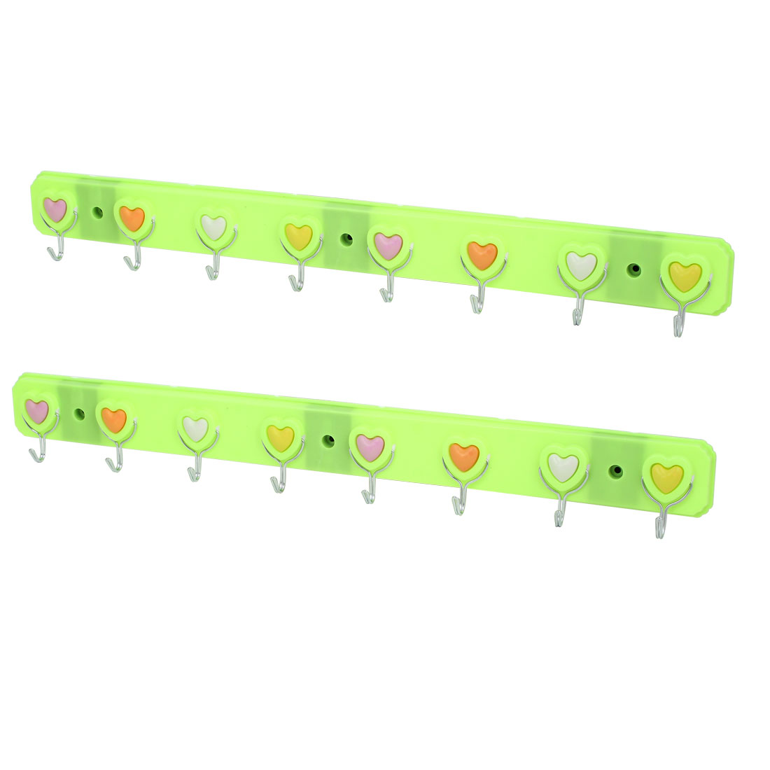 Bedroom Bathroom Hat Clothes Towel Heart Pattern Wall Mounted Self Adhesive 8-Hooks Plastic Hanger Rack Holder Green 2Pcs