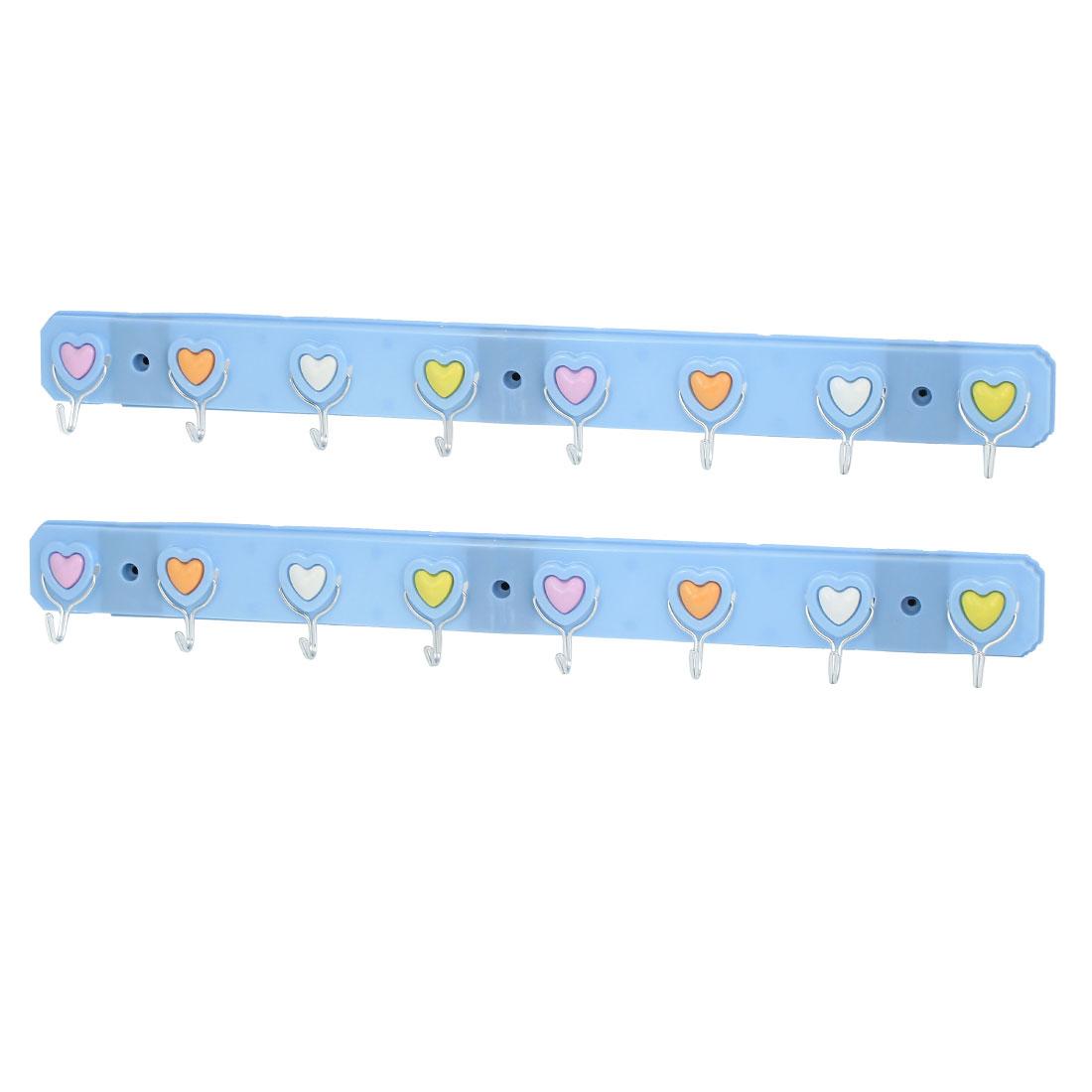 Bedroom Bathroom Hat Clothes Towel Heart Pattern Wall Mounted Self Adhesive 8-Hooks Plastic Hanger Rack Holder Blue 2Pcs