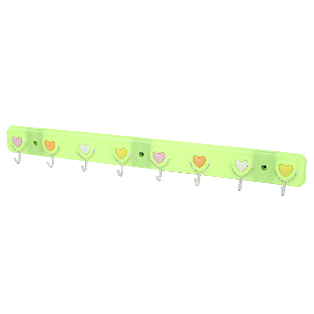 Home Bedroom Bathroom Hat Clothes Towel Heart Pattern Wall Mounted Self Adhesive 8-Hooks Plastic Hanger Rack Holder Green