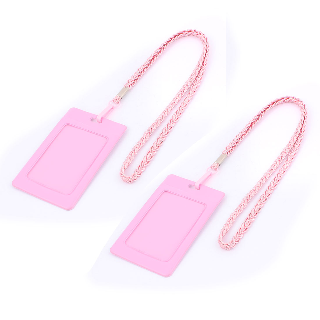 Company Office Nylon Neck Strap Vertical Design Name Card ID Badge Holder Carrier Pink 2pcs