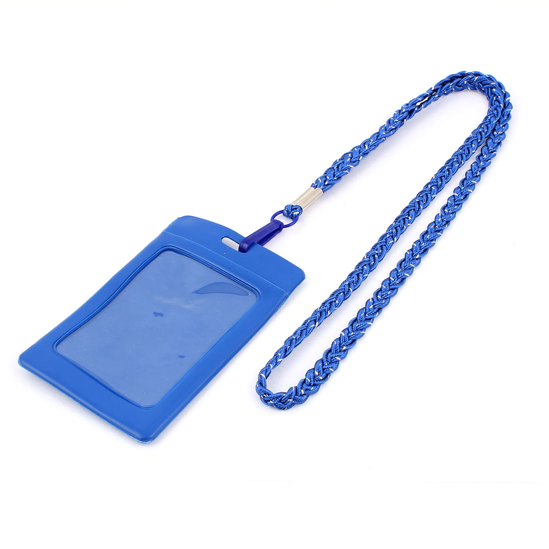 Business School Nylon Neck String Vertical Type Name Card ID Badge Holder Carrier Blue