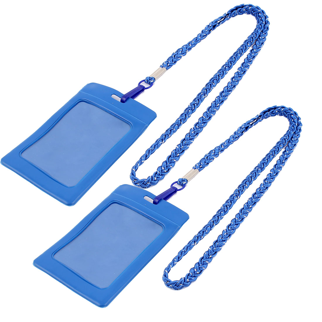 Company Office Nylon Neck Strap Lanyard Vertical Name Card ID Badge Holder Carrier Blue 2pcs