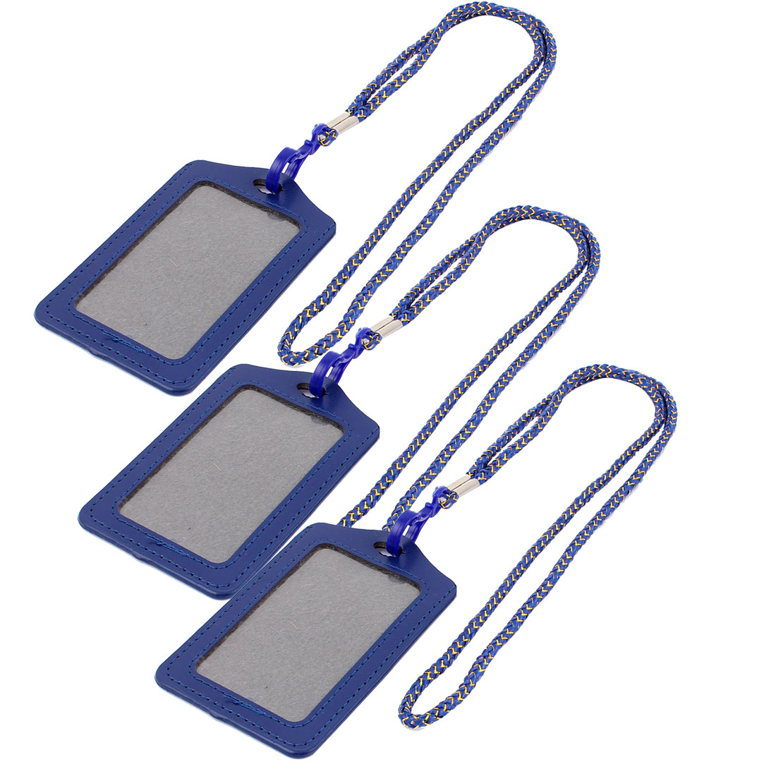 Nylon Neck Strap Name Badge Office Credit ID Card Vertical Holder Dark Blue 3PCS