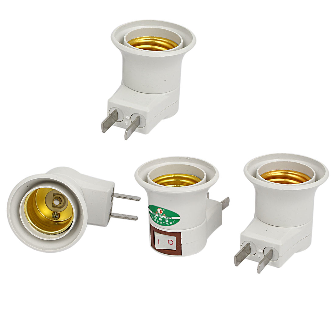 220V US Plug to E27 Base Light Bulb Lamp Socket Holder Adapter Converter 4pcs