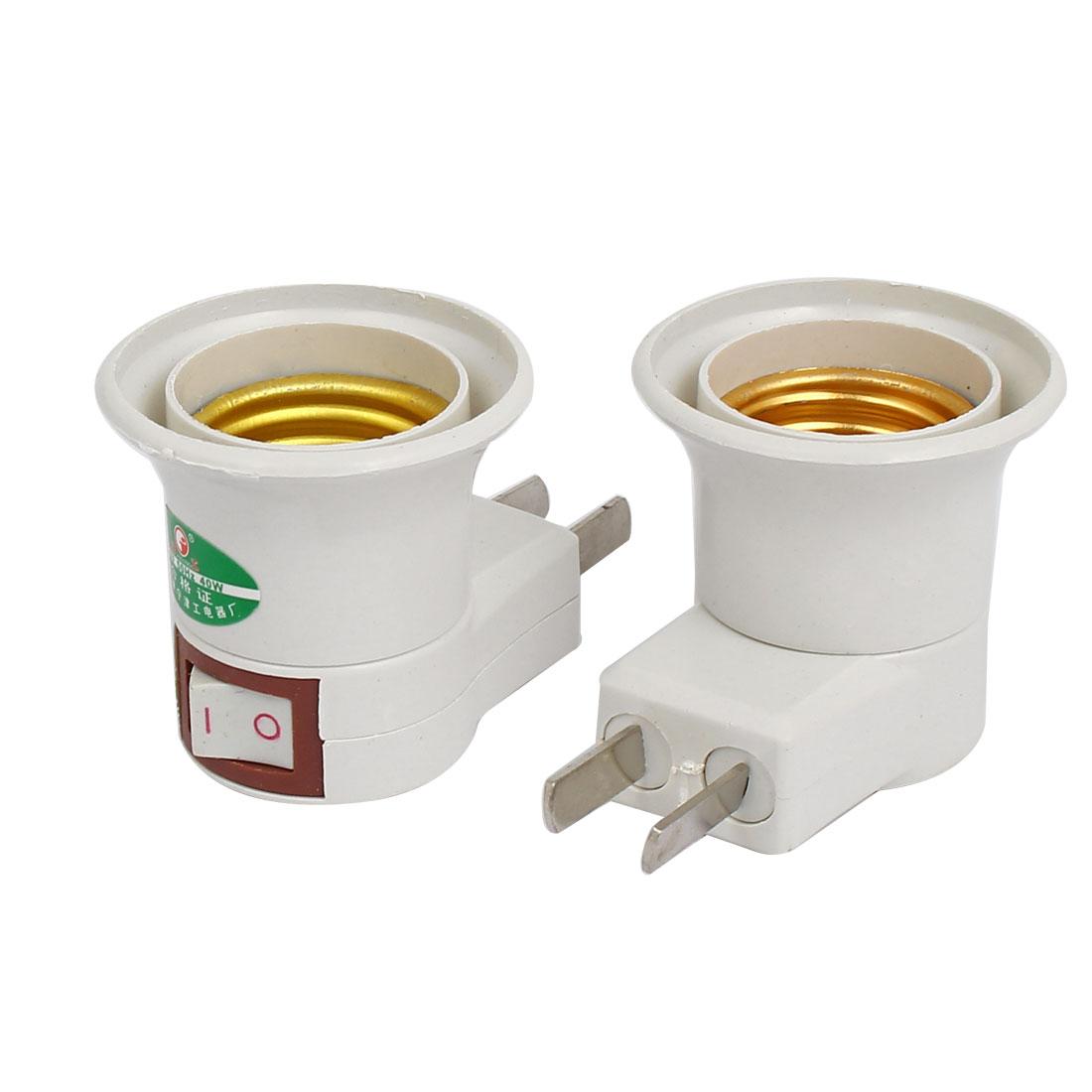 220V US Plug to E27 Base Light Bulb Lamp Socket Holder Adapter Converter 2pcs
