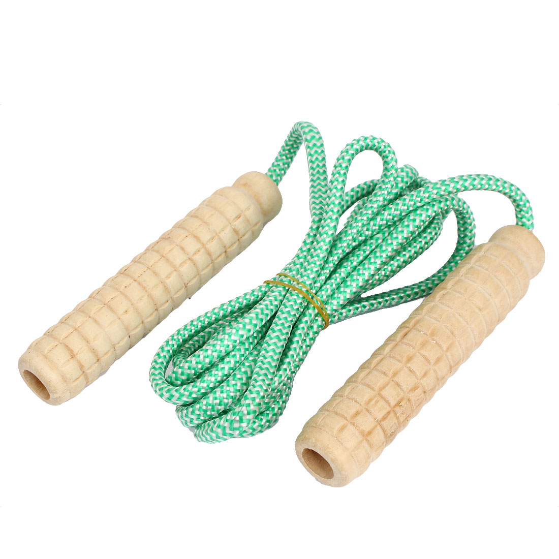 Plasitc Handle Exercise Adjustable Skipping Jump Rope Green 2.3Meter Length