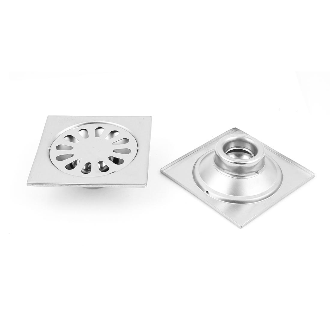 Kitchen Bathroom Shower Stainless Steel Square Shape Sink Floor Drain Filter Stopper Grate Strainer 2pcs