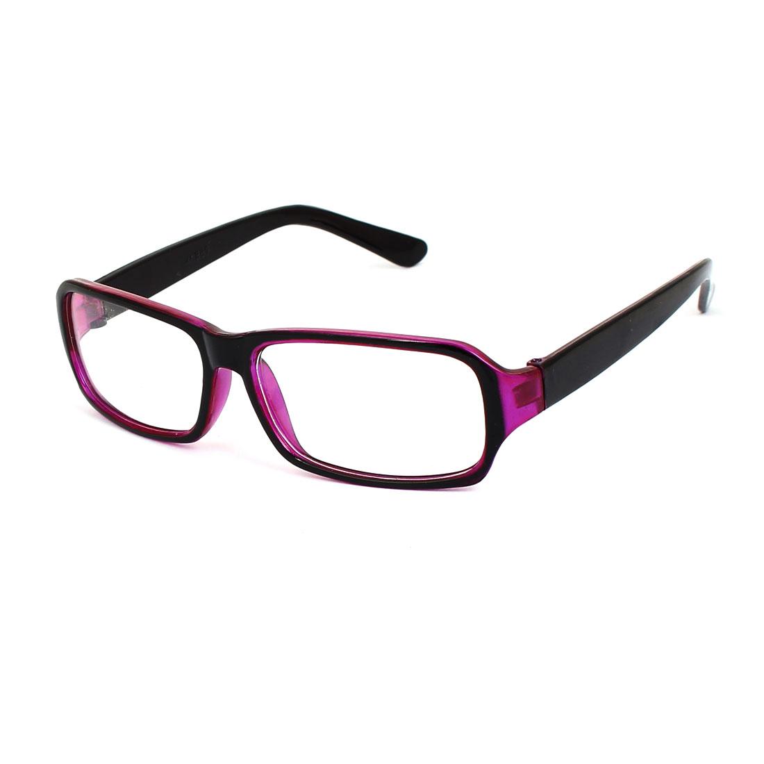 Unisex Square Lens Full Rim Eyewear Plain Plano Glasses Spectacles Black Purple