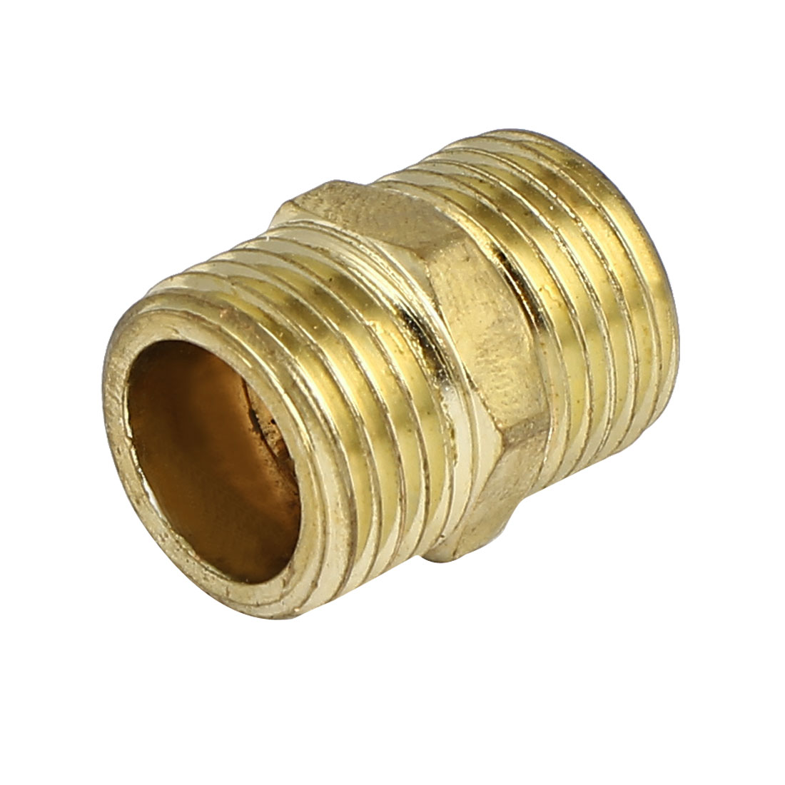 1/2BSP to 1/2BSP Male Thread Air Fuel Water Pipe Fitting Hex Nipple Gold Tone