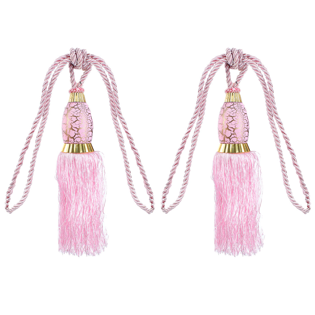 2Pcs Window Curtain Drapery Tassel Rope Tie Back Holdback Fringe Pink